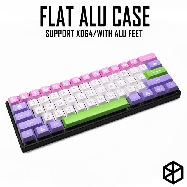 Capa plana de alumínio anodizado com pés de metal, para teclado mecânico personalizado, preto, tamanho cinza, colorida para gh60 xd60 xd64 satan