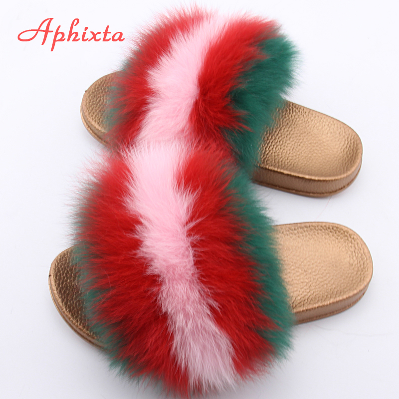 Aphixta Real Fox Haar Vrouwen Slippers Gemengde Kleur Echt Vossenbont - Damesschoenen
