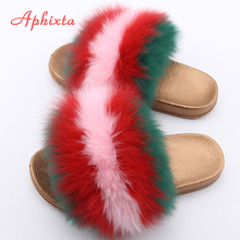 Aphixta Real Fox Hair Women Slippers Mixed Color Genuine Fur Slipper Ladies Plush Indoor For Large Size 36-45