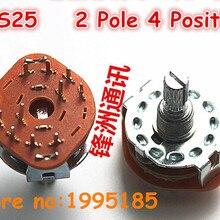 10 шт./лот RS25 2P4T переключатели диапазонов канала поворотный переключатель цепи 2pole 4 позиции 20 мм 2*4 шестерни