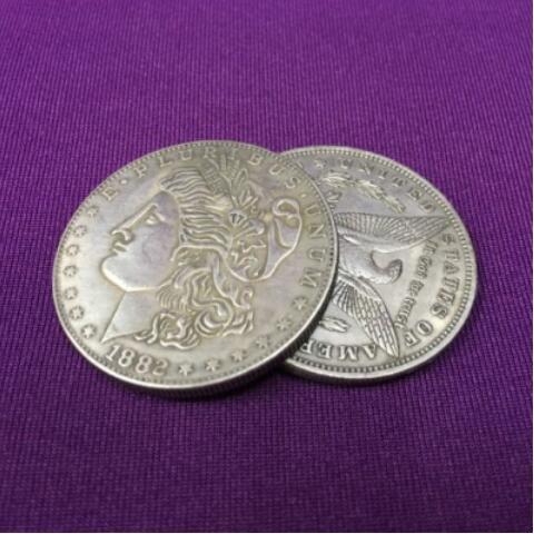Abendessen Kupfer Flipper Münze Schmetterling Morgan Dollar Münzen Magie Zubehör Professionelle Zaubertricks Zauberkünstler Requisiten Gimmick