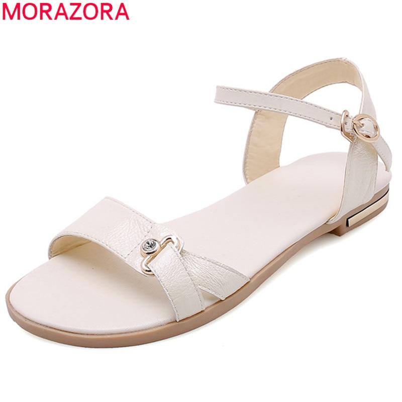 MORAZORA Hot Sale 2019 New Shoes Woman Sandals Genuine Leather Shoes Buckle Simple Summer Shoes Fashion Flat Beach Shoes Women