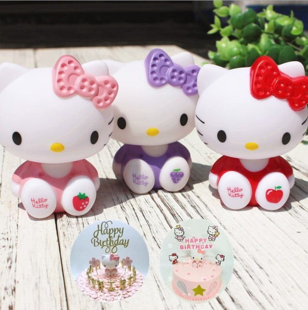 Pink Purple Red Hello Kitty Birthday Cake Toppers Halloween Birthday