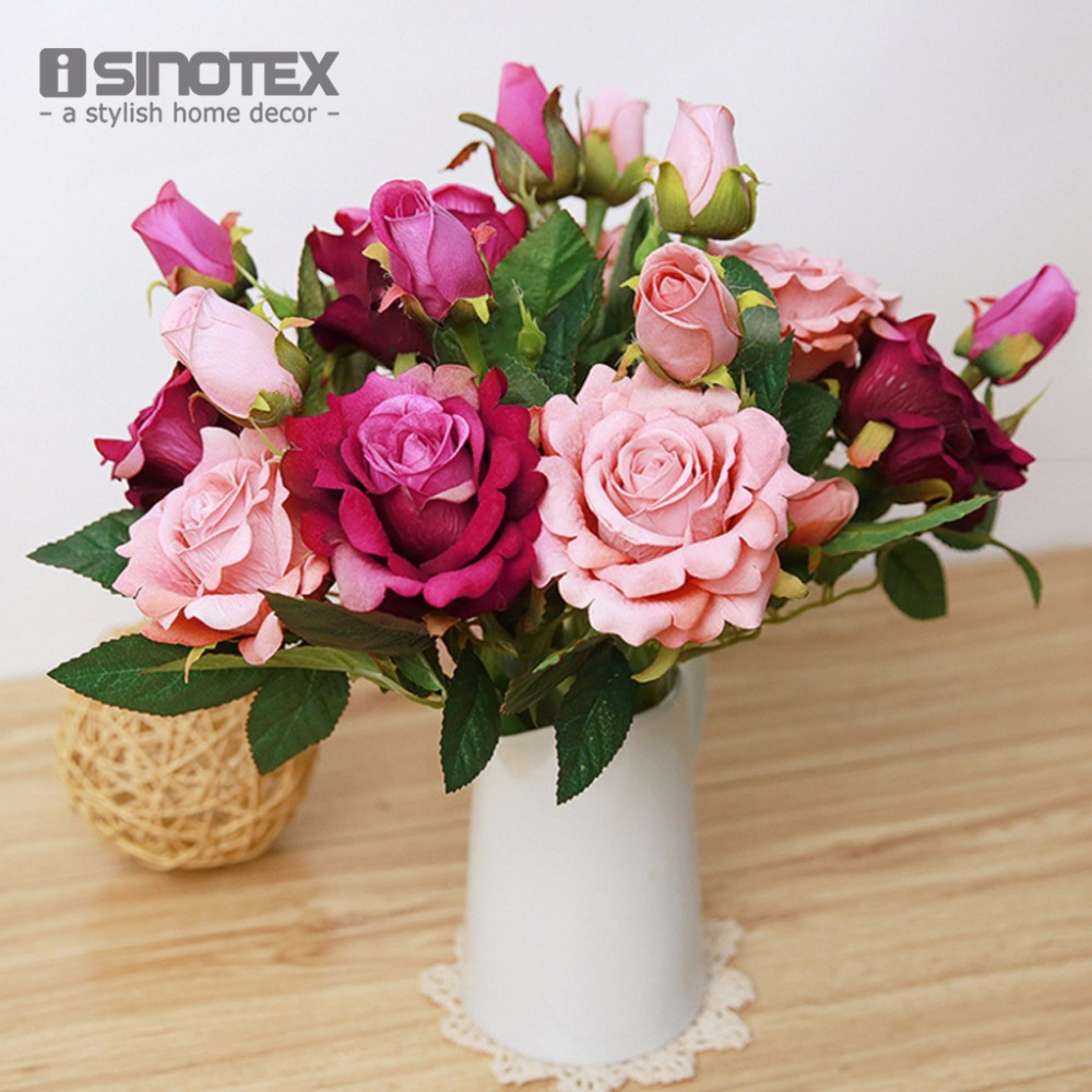 1 63 Fleurs Artificielles Pour Décoration De Mariage Mariage Fête D Anniversaire Artisanat Nuptiale Bouquet Floral Bourgeons Fleurs Décoratives 1
