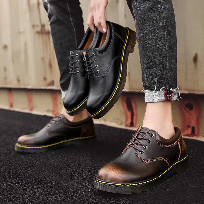 Hohe Qualität Aus Echtem Leder Männer Schuhe Frühling Arbeit Sicherheit Casual Schuhe Mode Wohnungen Oxfords Loafers Mokassins Große Größe 38- 47