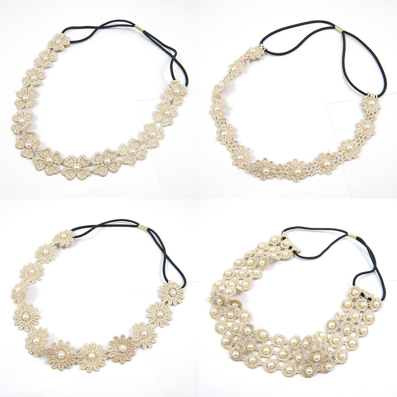 Trendy Lace with Pearl Beaded Elastic Headbands For Women Korean Beige Ribbon Flower Style Non-slip Hair Bands Bridal   Headwear