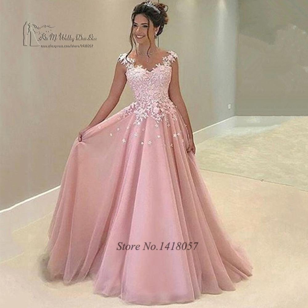 Vintage pink prom vestidos largos 2017 flores de encaje princesa ...