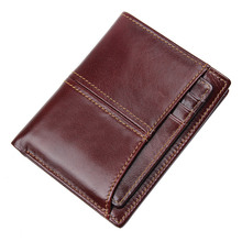 цена на RFID Blocking Leather Travel Bifold Wallet for Men Credit Card Protector with Double ID Card Window R-8107-2Q