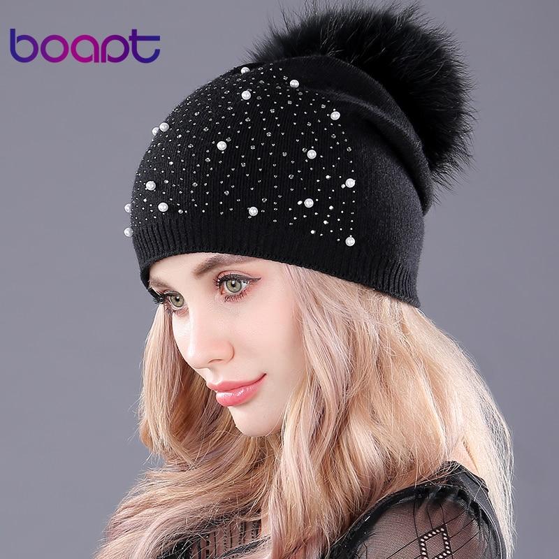 520ba574bd484 [Boapt] strass diamant perle double pont tricoté cachemire hiver chapeaux  femmes casquette réel raton