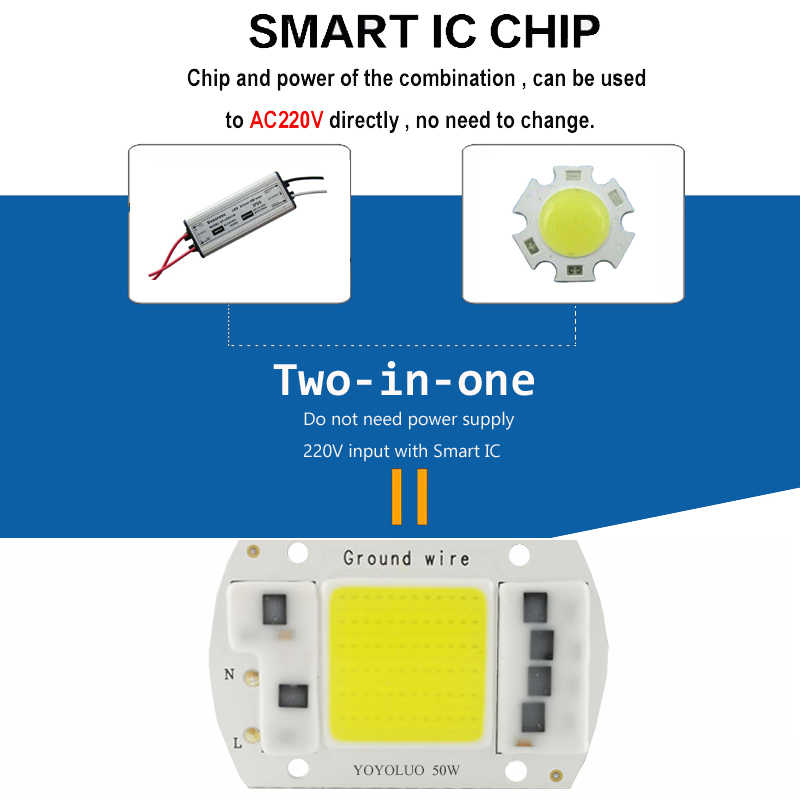 [YOYOLUO] AC220V LED COB Chip 50W 30W 20W 15W 5W  free Driver Smart IC LED Bulb Lamp For Spotlight down light DIY replacement