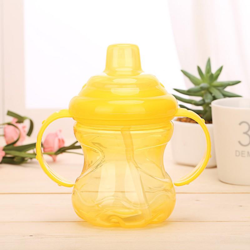 Baby Straw Cup Newborn baby 230ml Bottle Children Learn Feeding Drinking Handle Bottle Kids Straw Juice Water Bottles