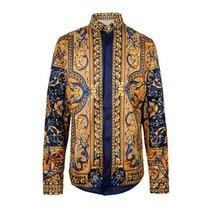 M-XXL Men Gold Shirt 2017 New 3D Print Palace Long Sleeve Shirt Camisa Masculina Social Chemise Homme Fashion Men Dress Shirts
