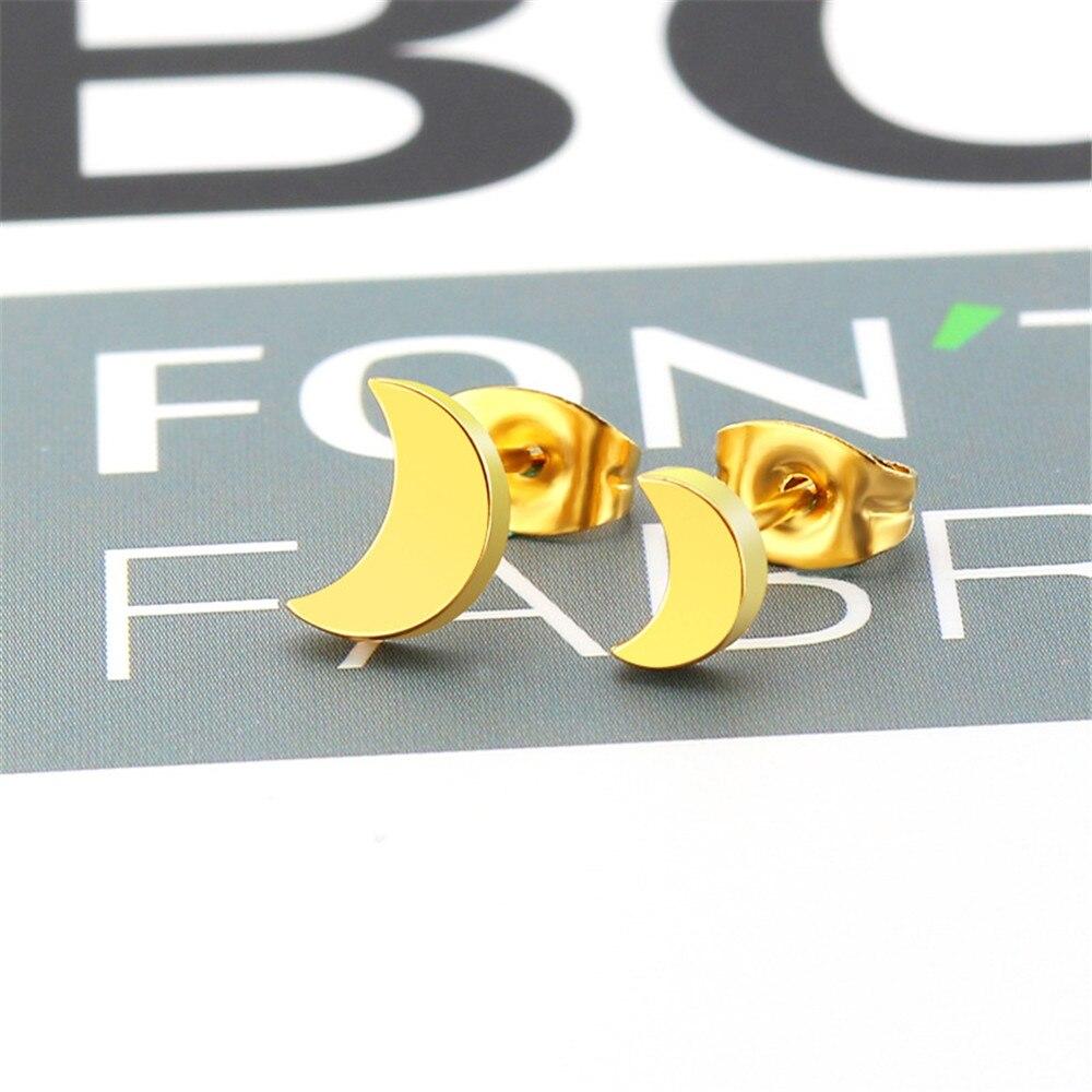 Korean fashion stainless steel simple moon earrings female hypoallergenic men earrings jewelry women 39 s accesories wholesale in Stud Earrings from Jewelry amp Accessories