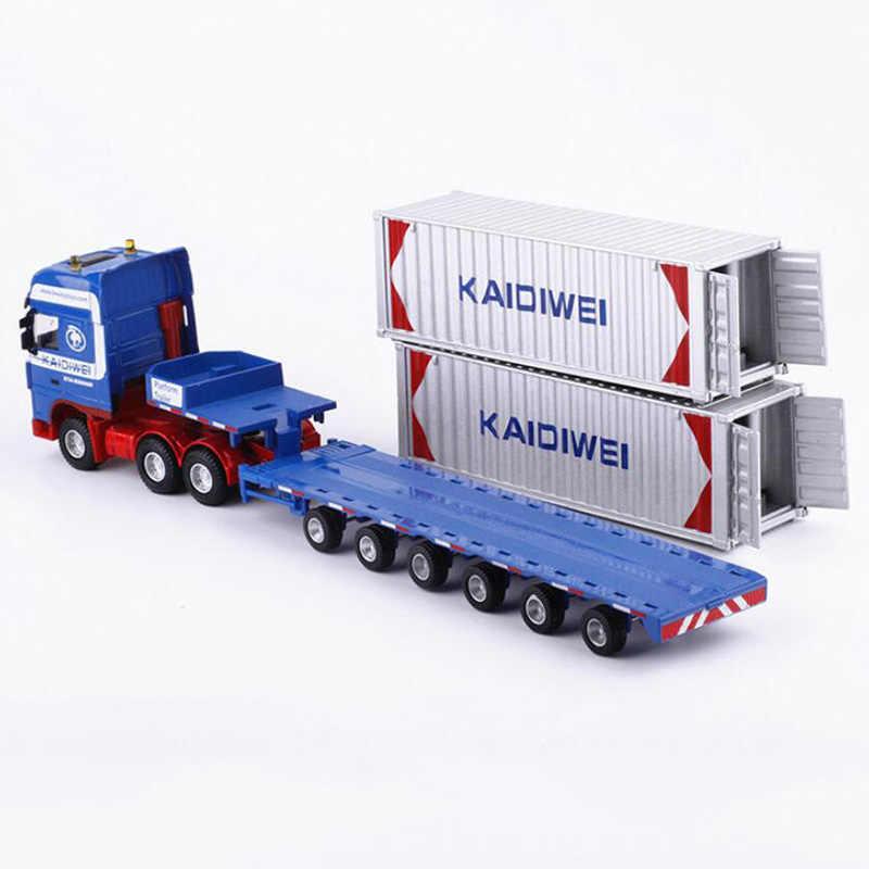1:50 Skala Logam Paduan Truk Trailer Kontainer Kargo Logistik Mobil Truk Diecast Model Teknik Auto Kendaraan Mainan Koleksi