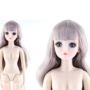 Image 5 - 60cm 21 Movable Joints BJD Dolls 3D Eyes White Skin Female Naked Nude Doll Body With Shoes Accessories Dolls Toy For Girls Gift
