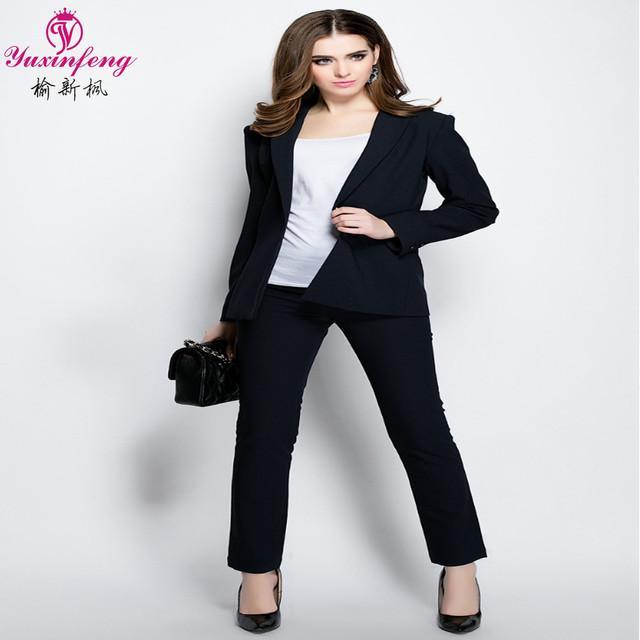 2017 Mujeres 2 Unidades Establece Mujer Trajes de Negocios de Nueva Solid Formal señoras Trajes de Pantalón para las Mujeres Trajes con pantalones de trabajo Azul oficina