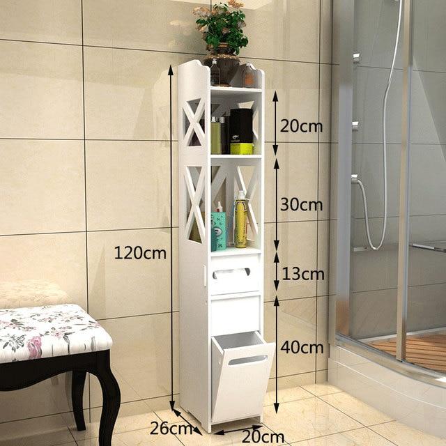 Fashion Floor Standing Bathroom Storage Cabinet Washbasin Shower Rack Corner Plants Sundries Shelves