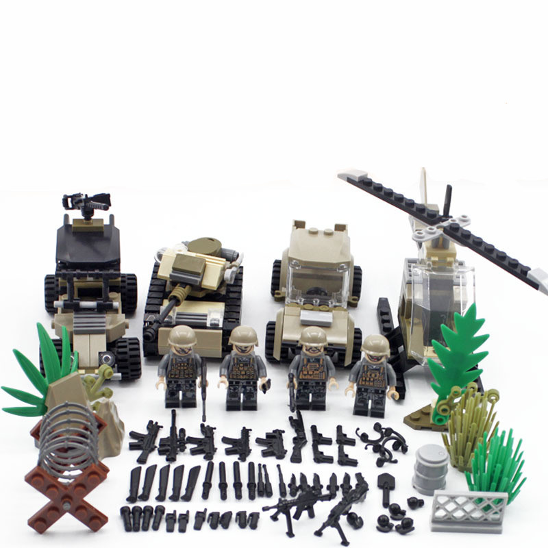 4 In 1 World War 2 Tank Helicopter Car Soldier Military SWAT Army Model Building Blocks Figures Set Educational Toys Boys Gifts цена