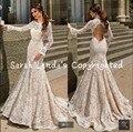 2016 новое прибытие Русалка шампанское белое кружево Свадебные Платья с длинным рукавом бисероплетение кристаллы свадебные платья с открытой спиной невесты платье