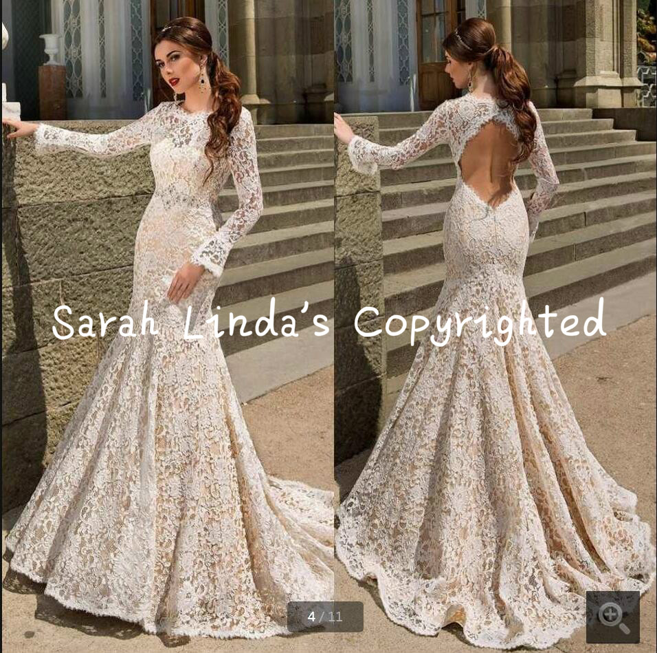 2016 New Arrival Mermaid Champagne White Lace Wedding Dresses Long