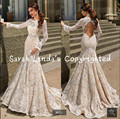 2016 new arrival Mermaid champagne white lace Wedding Dresses long sleeve beading crystals wedding gowns open back bride dress