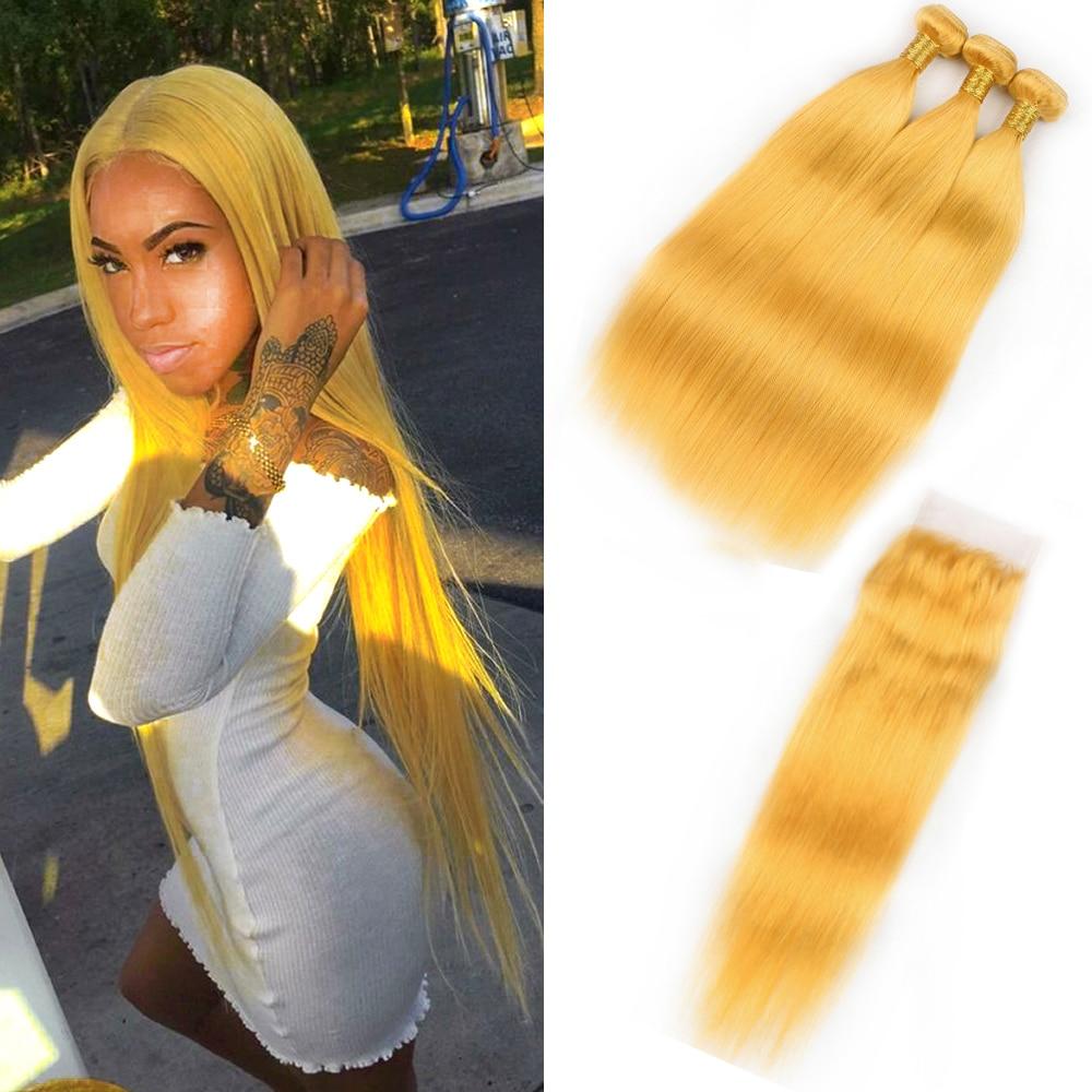Aliexpress Com Buy Beaudiva Yellow Straight Hair Bundles