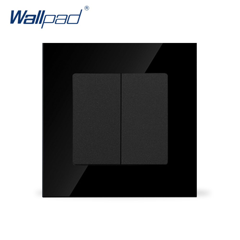 Wallpad Luxury 2 Gang Curtain Black Crystal Glass UK 110-250V Double Wall Window Curtain Blind Switch ,Free Shipping цена