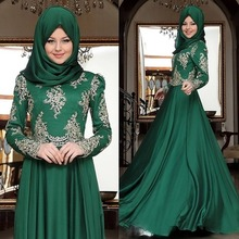 A Line Long Sleeves Lace Chiffon Long Hijab Muslim Evening Dress Turkish Arabic Formal Gown abendkleider robe de soiree