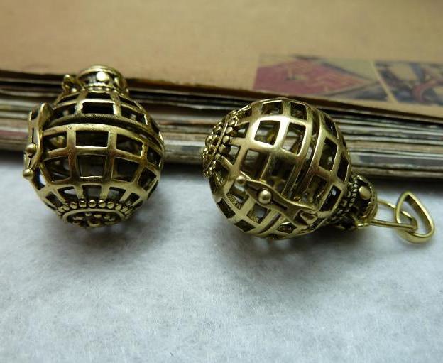 2pcs a lot 2128mm Bronze vintage style wish box magic ball diy