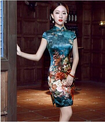 Hoogwaardige luxe 2016 zijde cheongsam zomer vintage mode korte slanke vrouwen zomer kleding