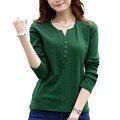 Camiseta femme outono t-shirt de manga comprida camisa das mulheres t womens tops moda 2016 poleras de mujer Sólidos t-shirt camisetas mujer