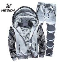 Starke Warme Hoodie Männer 2 Stück Sweatshirt Running Set Sport Anzug Marke Reißverschluss Trainingsanzug Männliche Grundlegende Jacke Pelz Jogginghose Haube mantel