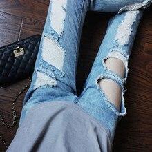 Новое отверстие джинсовые брюки уличной моды джинсы тонкий брюки случайные тощие женщины джинсы