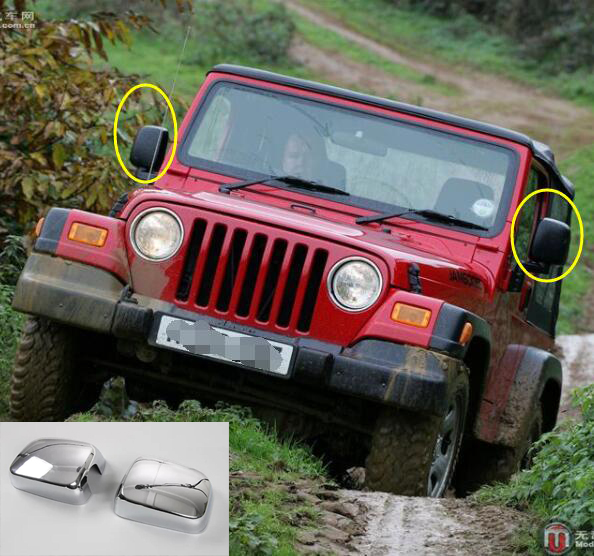 Newest Review Mirror Covers Trim Decoration Exterior Mouldings Styling ABS For Jeep Wrangler TJ Year 1997 2006 Free Shipping