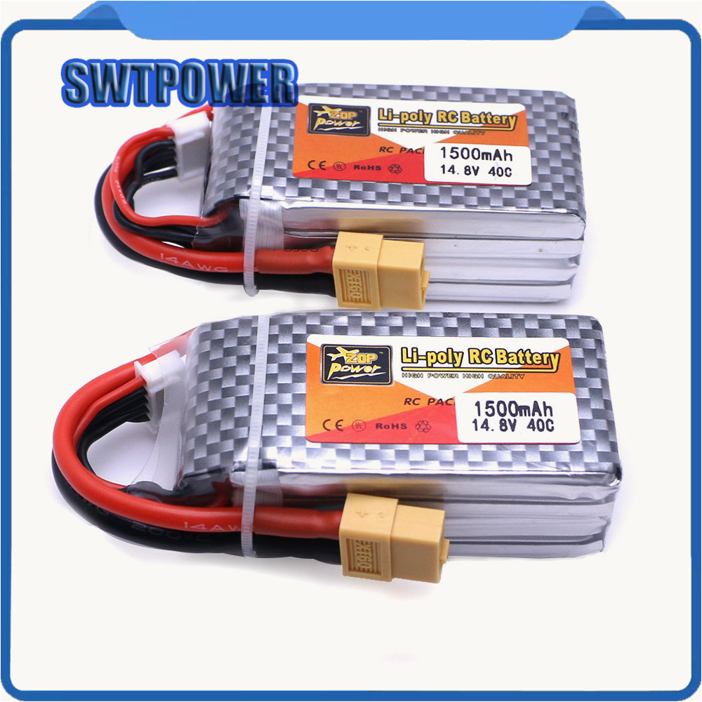 2pcs ZOP Power 14.8V 1500mAh 4S 40C Lipo Battery XT60/T Plug Rechargeable Battery