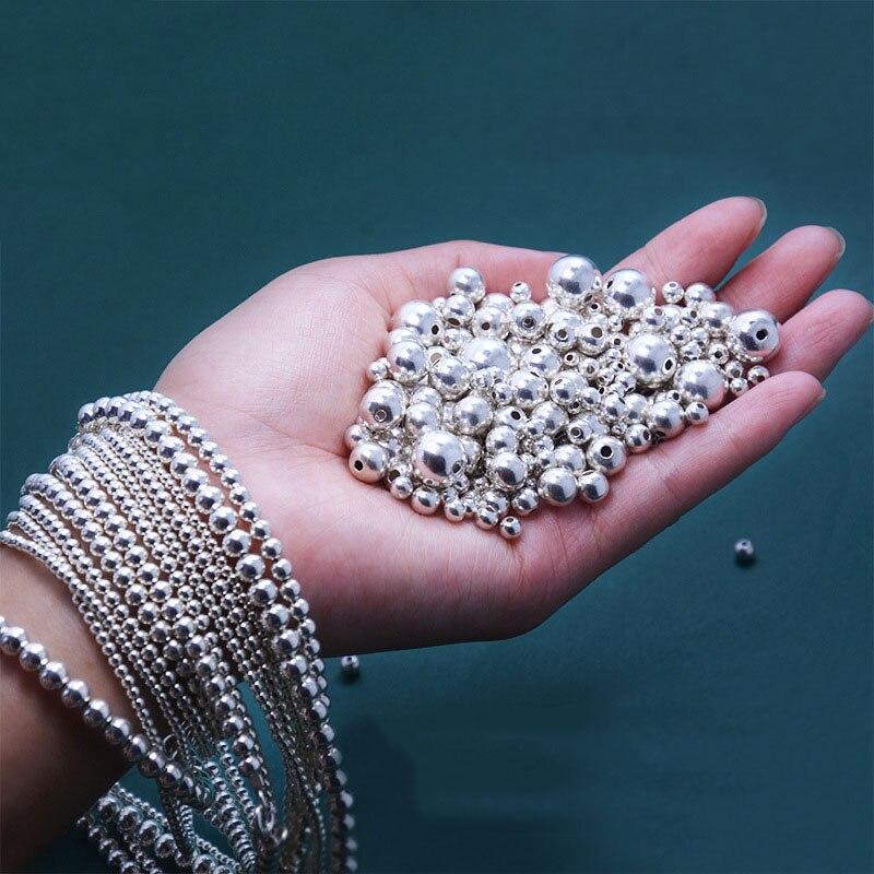 S925 Prata Esterlina Talão Com Furo Pulseira Anel Acessórios de Montagem DIY Pequenas Bolas Spacer Beads Encantos Para Fazer Jóias