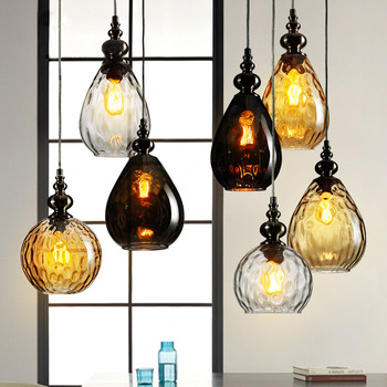 Retro Glass Pendant Light Art Shades Lamp Coloured Ceiling Ball Smoked Amber Clear Vintage Loft Lamps Bar Decor Colored  Modern