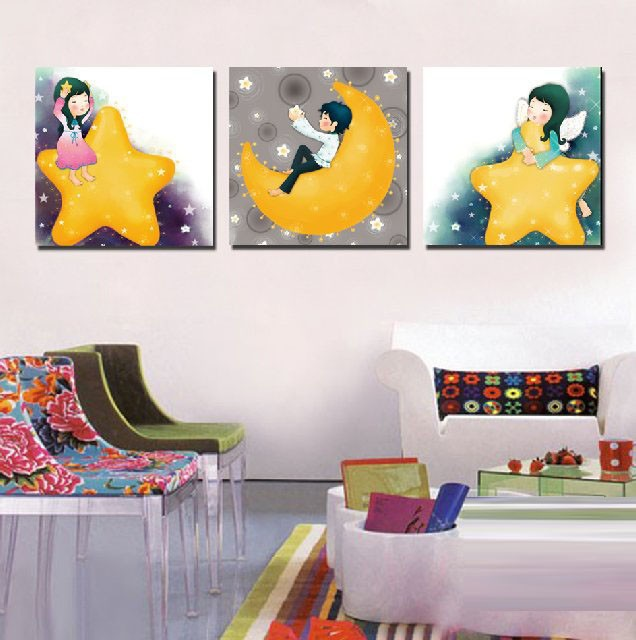 3 Panels Decorative Canvas Painting Kids Room Cartoon Star Moon Art Pictures On Walls Baby Children Bedroom Decoration No Frame In Calligraphy