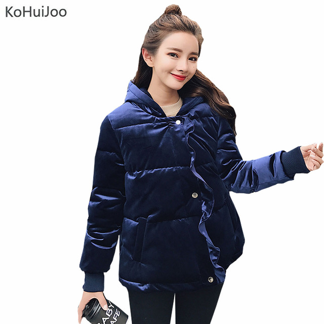 3329852ce KoHuiJoo Gray Blue Velvet Jacket Women Winter Slim Fashion Ruffles Hooded  Parkas Coat Female Thick Warm Puffer Jackets-in Parkas from Women's  Clothing ...