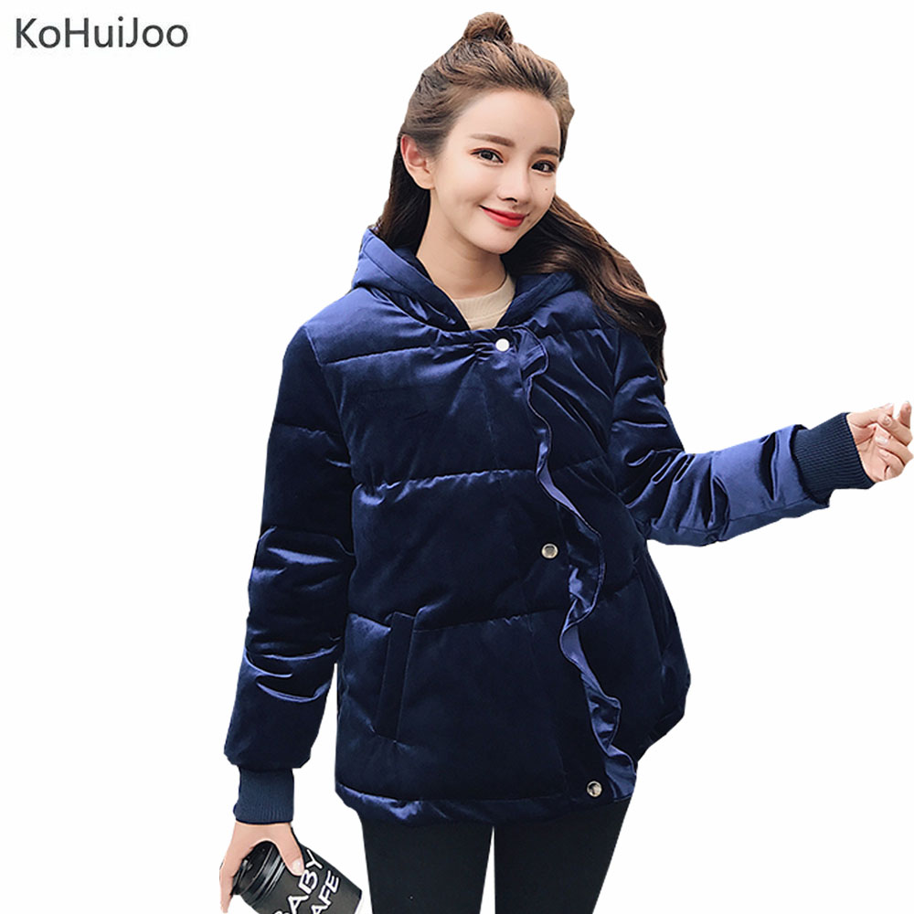KoHuiJoo Gray Blue Velvet Jacket Women Winter Slim Fashion Ruffles Hooded   Parkas   Coat Female Thick Warm Puffer Jackets