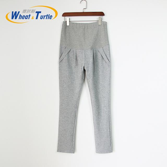 2016 Chegada Nova Designer Boa Qualidade Light Grey Algodão Inverno Maternidade Leggings Confortáveis calças leggings Quente Para Mulheres Grávidas