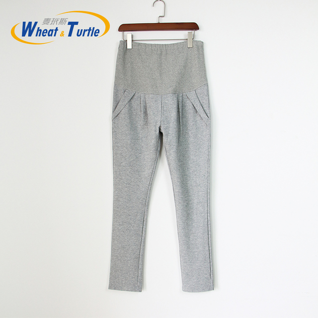 2016 New Arrival Designer Good Quality Light Grey Cotton Maternity Winter Leggings Comfortable Warm leggings For Pregnant Women