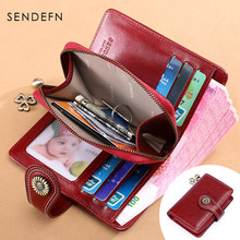 New Small Purse Women Wallets Split Leather Short Wallet Female Fashion Brand Design Coin Red Card Holder