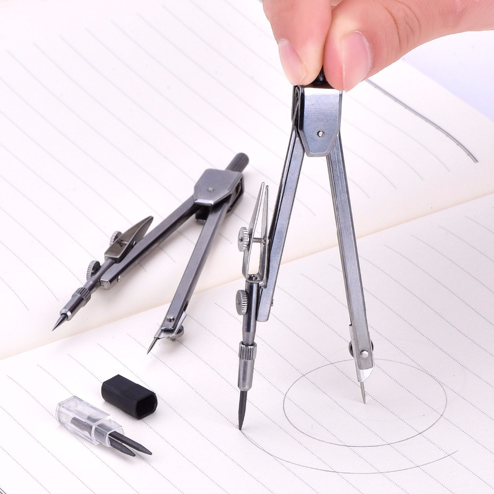 Stainless Steel Geometry Compass with Pencil Lead Math Class Drawing ...