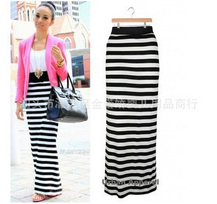 Aliexpress.com : Buy saias femininastrumpet denim striped midi ...