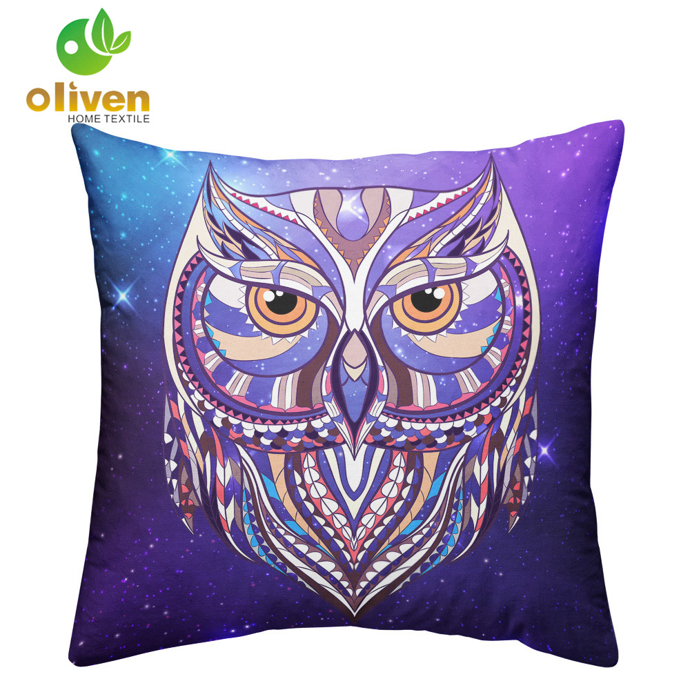 Multi-Color Owl Print Cushion Cover Living Room Throw Pillows Cover White Purple Galaxy Square Pillow Case housse de coussin P15