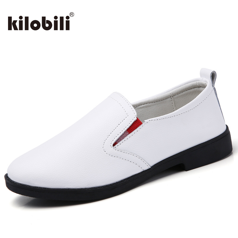 kilobili Brand High Quality Women Genuine   Leather   Shoes Slip On Flats Handmade Shoes Loafers mocassin flat Women's shoes oxfords