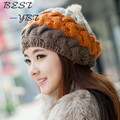 2016 New Rabbit Fur Ball Handmade Crocheted Wool Cap Spell Color Multicolor Cute Hat In Autumn and Winter Warm Hat