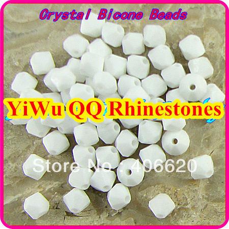 Фото Free shipping! AAA 5301 Chalk White color 3mm 4mm 5mm 6mm 8mm  Crystal Glass Bicone Beads.