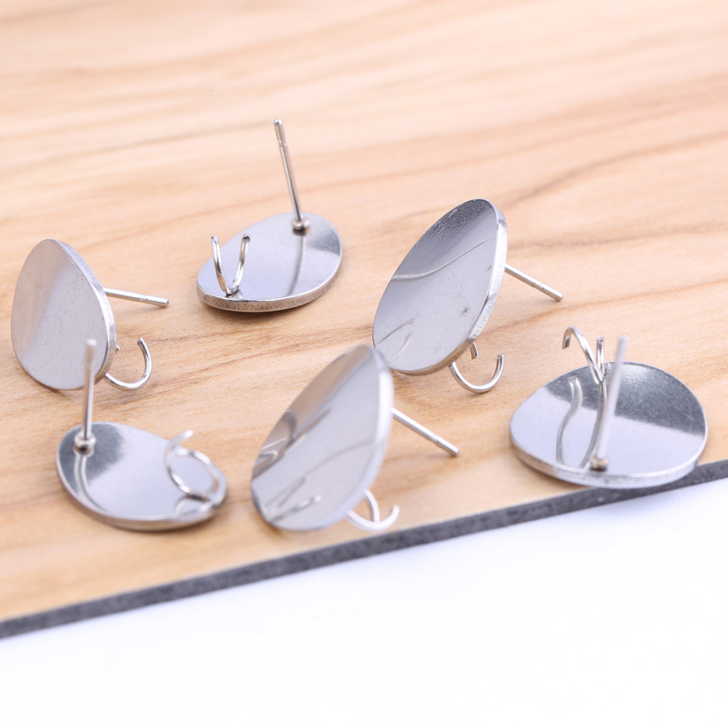 Onwear 10pcs Stainless Steel Post Earring Connectors Diy Earrings Jewelry Making Supplies